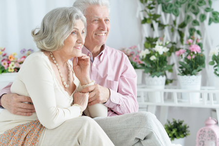 Portrait of happy beautiful senior couple posing and resting at home