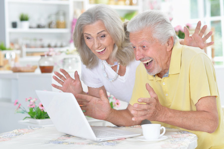 Portrait of senior couple using laptop at home 写真素材 - 117954668