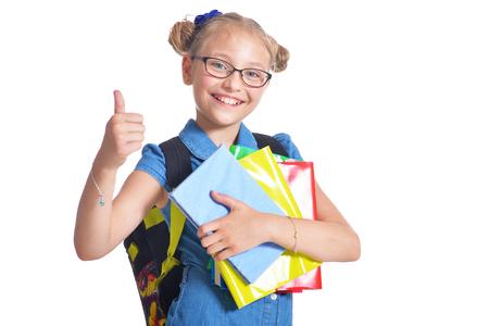 Cute schoolgirl with backpack