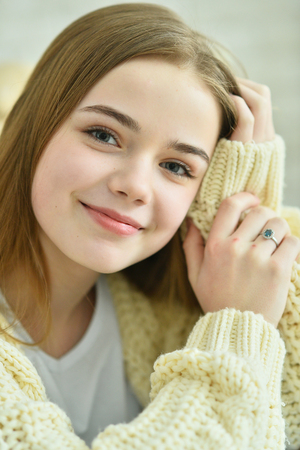 Portrait of beautiful teen girl indoors