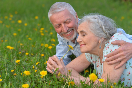 happy senior couple lying on green meadow
