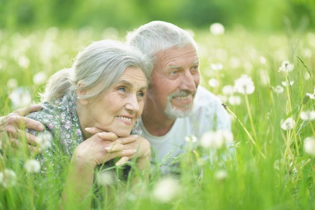 Portrait of happy senior couple lying on green meadow