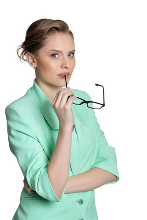 Portrait of young businesswoman with glasses isolated Stock Photo