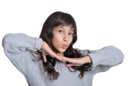 Close up portrait of brunette girl on white background 版權商用圖片