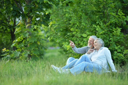 Portrait of cute senior couple in the park
