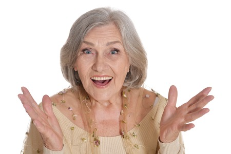 Surprised senior woman posing isolated on white background Reklamní fotografie