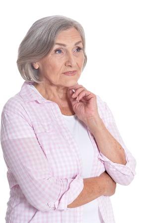 Portrait of beautiful senior woman posing on white background 写真素材
