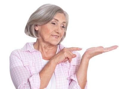 Portrait of beautiful senior woman isolated on white background