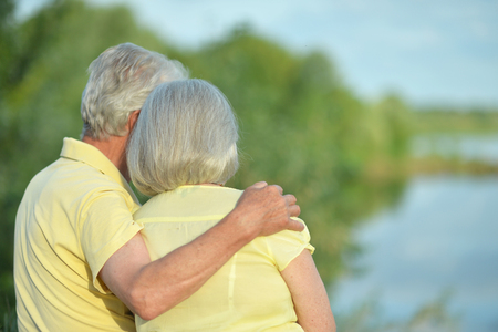 Beautiful senior couple hugging in the park, back view Stock Photo