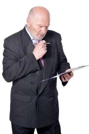 Elderly businessman with clipboard on background on white background