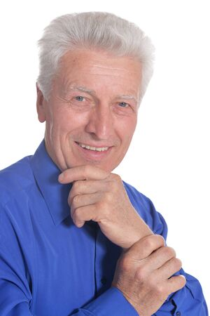Portrait of senior man isolated on white background Stock Photo