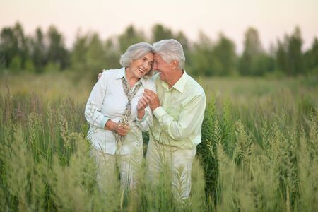 Portrait of beautiful senior couple relaxing and posing in the summer park