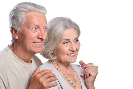 Portrait of happy senior couple posing isolated on white background Фото со стока