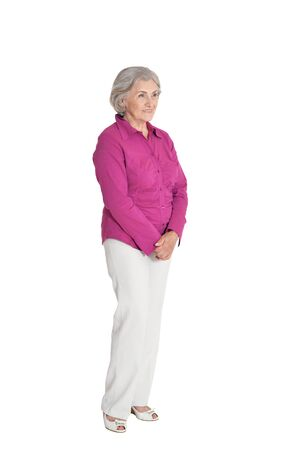 Portrait of emotional senior woman posing isolated Archivio Fotografico