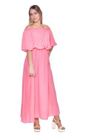 beautiful woman wearing dress isolated on white Zdjęcie Seryjne - 128607134