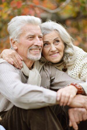 Portrait of senior couple having picnic outdoors