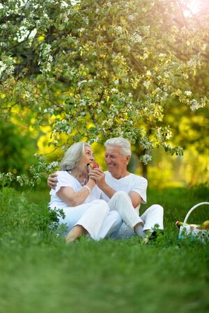 Portrait of happy senior couple having picnic Banco de Imagens