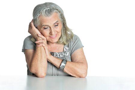 Portrait of emotional senior woman posing isolated Imagens