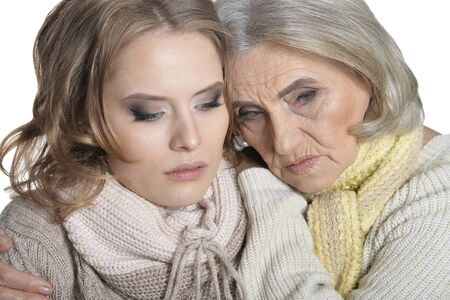 Close up portrait of senior mother and her daughter