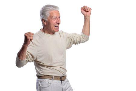 portrait of senior beautiful man posing on white background Stock Photo