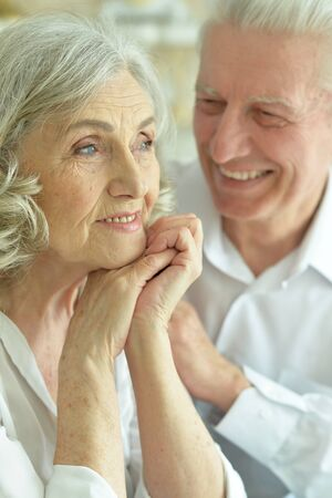 Portrait of happy senior couple posing at home