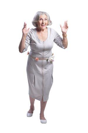 beautiful senior woman posing against white background Banco de Imagens