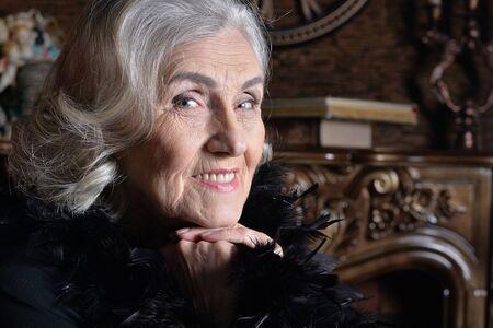 Close up portrait of happy senior woman Stok Fotoğraf