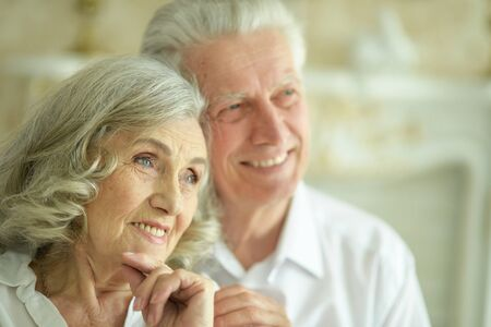 Close up portrait of happy senior couple posing Stok Fotoğraf