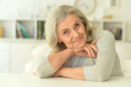 Close up portrait of happy senior woman