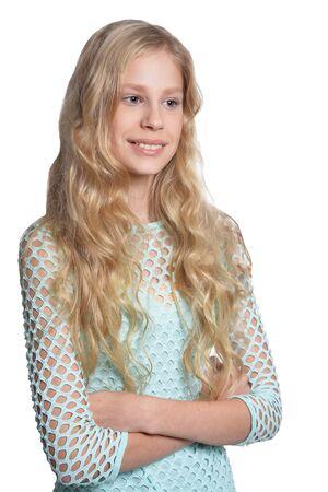 Close up portrait of cute blonde teen girl