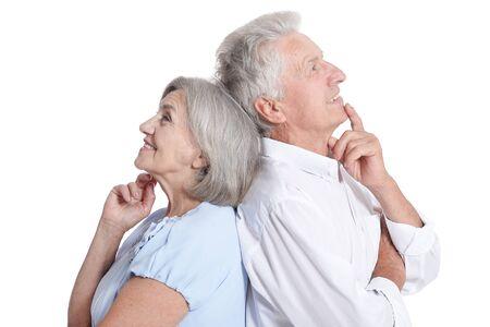 Close up portrait of happy senior couple on white background Foto de archivo