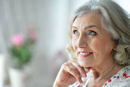 Close up portrait of happy senior woman at home Stock Photo