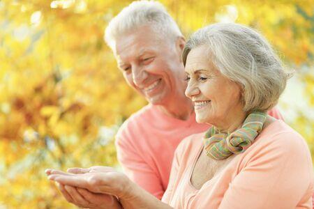 Couple de personnes âgées dans le parc montrant quelque chose