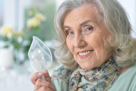 Close up portrait of sick senior woman Stock Photo
