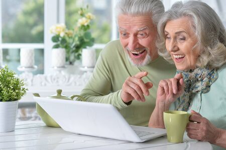 Close up portrait of happy senior couple with laptop