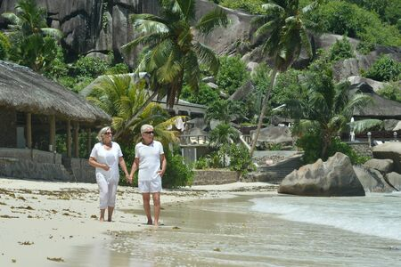 Portrait of happy elderly couple walking on tropical beach