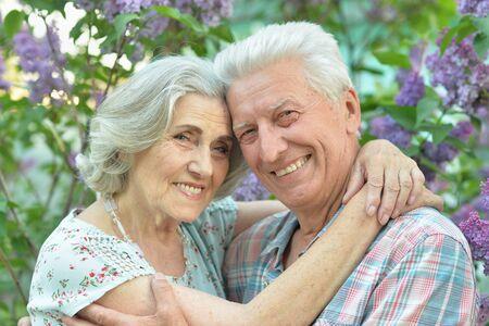 Close up portrait of beautiful senior couple hugging Reklamní fotografie - 140988188