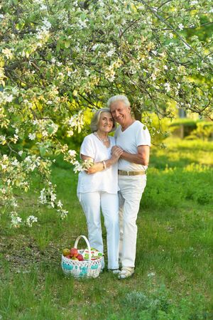 Beautiful caucasian senior couple in the park Reklamní fotografie - 140988219