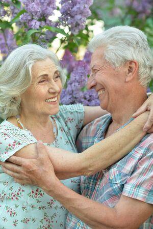 Close up portrait of beautiful senior couple hugging Reklamní fotografie - 140988225