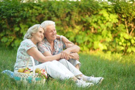 Portrait of loving elderly couple having a picnic