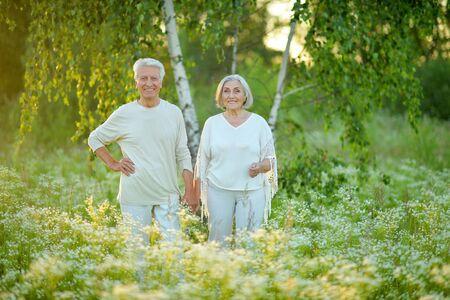 Beautiful caucasian senior couple in the park