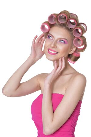 Portrait of beautiful woman wearing pink dress