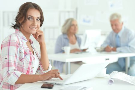 Portrait of beautiful young businesswoman working in office Banque d'images