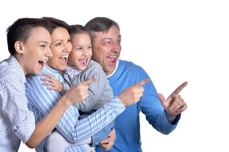 Close up portrait of happy smiling family posing together