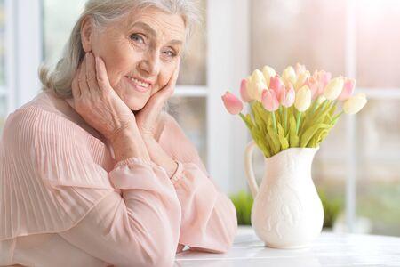 Close up portrait of happy senior woman Stock Photo