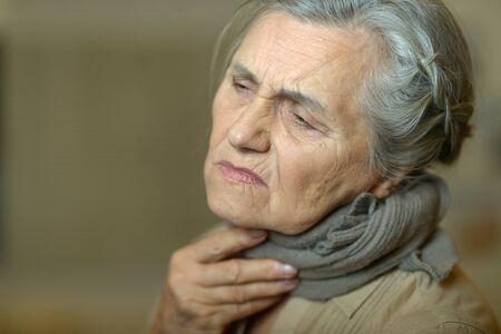 Close up portrait of sad ill senior woman Zdjęcie Seryjne