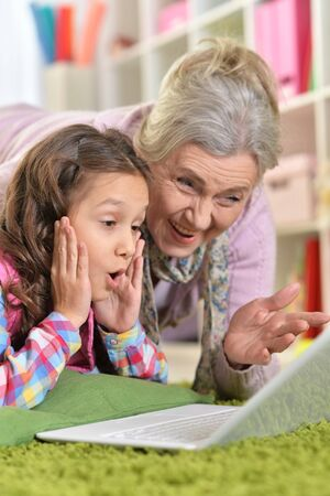 Portrait of grandmother and daughter using modern laptop at home