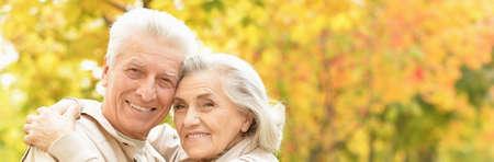 Portrait of smiling senior couple in autumn park Standard-Bild