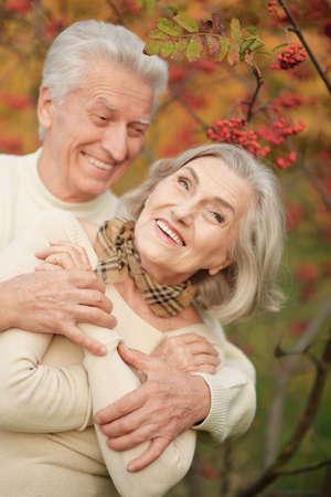 Portrait of beautiful senior couple in autumn park Standard-Bild