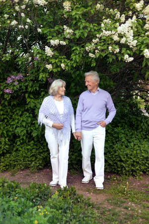 Beautiful senior couple hugging in the park by lilacs